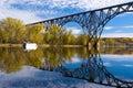 Railroad bridge reflections Royalty Free Stock Photo