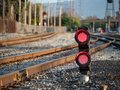 A railroad color position light flashing red stop lights with fe Royalty Free Stock Photo
