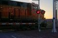 Railroad crossing at night Royalty Free Stock Photo