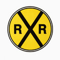 Railroad crossing sign. Royalty Free Stock Photo
