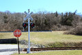 Railroad Crossing Signal with lights Royalty Free Stock Photo