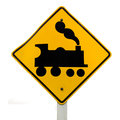 Railroad Crossing, steam engine roadsign on white Stock Photos