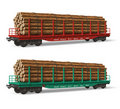 Railroad flatcars with lumber Royalty Free Stock Images