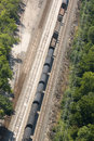 Railroad freight train aerial view of a on railway tracks goods and supplies are many times moved by rail transportation Royalty Free Stock Photography