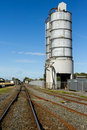 Railroad and fuel tanks Stock Photos