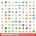 100 railroad icons set, cartoon style