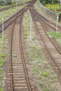 Railroad juction in track sidings Royalty Free Stock Photography