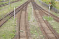 Railroad juction in track sidings Stock Photos