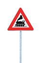 Railroad Level Crossing Sign without barrier or gate ahead the road, beware of train roadside signage, roadsign on pole post Royalty Free Stock Photo