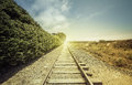 Railroad with light leak vintage Stock Photography
