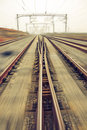 Railroad metal track with track bed Stock Images