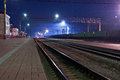 The railroad, night. Peron. Stock Photos