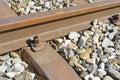 Railroad rail and ties Royalty Free Stock Photo