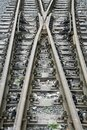 Railroad rails. Fork and wooden sleepers. Graphic arts. Royalty Free Stock Photo