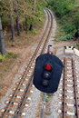 Railroad and semaphore with red signal Royalty Free Stock Photos