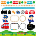 Railroad set of the and the train illustrations Royalty Free Stock Images