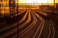 Railroad station at sunset transport railway Royalty Free Stock Photo