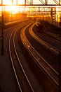 Railroad station at sunset transport railway Stock Photography