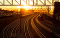 Railroad station at sunset transport railway Royalty Free Stock Photography