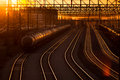 Railroad station at sunset transport railway Royalty Free Stock Image