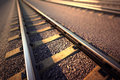 Railroad straight track close up of empty perspective view Stock Photo