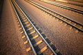 Railroad straight track close up on part of from top view Royalty Free Stock Images