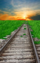 Railroad and sunset Stock Photo