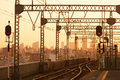 Railroad at sunset. Industrial landscape with railway station