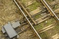 Railroad switch an old on train tracks Royalty Free Stock Photography