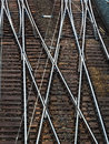 A railroad switch soft rails on symbolic photo for decision separation and community Royalty Free Stock Photography