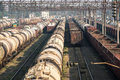 Railroad tank cars and cargo wagons Royalty Free Stock Photo
