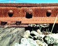 Railroad tie rusty tracks Stock Images