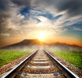 Railroad to the mountains Royalty Free Stock Photo