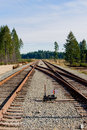 Railroad track junction Stock Images