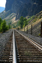 Railroad track in the mountains Royalty Free Stock Photo