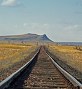 Railroad Track on the Prairie Royalty Free Stock Photography