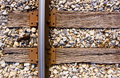 Railroad track and ties Royalty Free Stock Photo