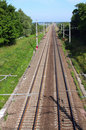 Railroad track vanishing into the distance Royalty Free Stock Photo