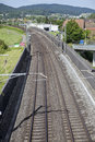 Railroad track view from above sunny day Stock Image