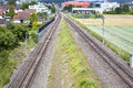 Railroad track view from above swiss and separation Stock Images