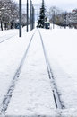 Railroad track in winter vitoria spain Stock Photo