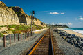 Railroad tracks along the beach Royalty Free Stock Photo