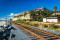 Railroad tracks along the beach in San Clemente, California. Royalty Free Stock Photo