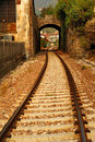 Railroad tracks and archway Royalty Free Stock Photo
