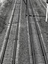 stock image of  Railroad tracks black gloomy atmosphere