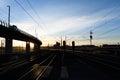 Railroad Tracks curve at Twilight Royalty Free Stock Photo