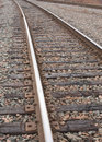 Railroad tracks detail view of Stock Photo