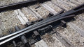 Railroad tracks frog junction switch crossing detail Stock Image