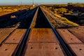 Railroad Tracks Heading North into New Mexico Desert. Royalty Free Stock Photo