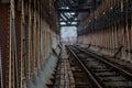 Railroad tracks on the iron bridge Royalty Free Stock Photo